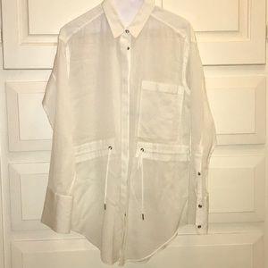 Helmet Lang tunic length white blouse